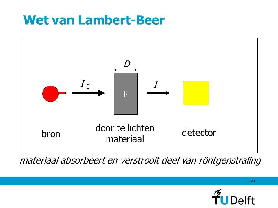 20 Wet van Lambert-Beer bron I 0 D I door te lichten materiaal detector materiaal absorbeert en verstrooit deel van röntgenstraling μ