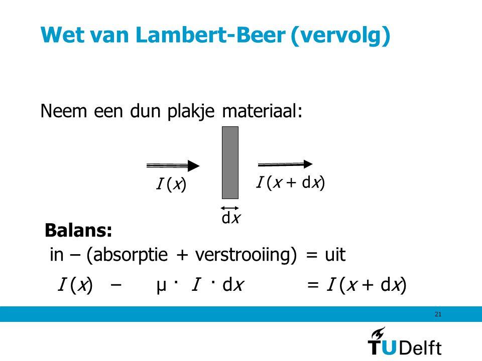21 Wet van Lambert-Beer (vervolg) Neem een dun plakje materiaal: dxdx I (x) I (x + dx) I (x) – μ · I · dx = I (x + dx) in – (absorptie + verstrooiing)