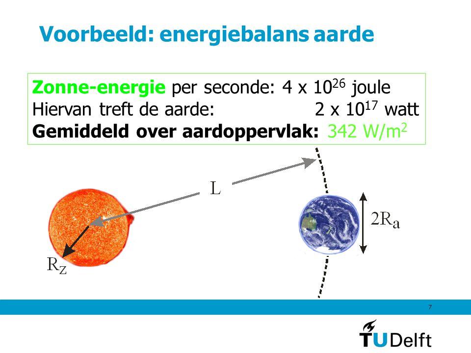 7 Voorbeeld: energiebalans aarde Zonne-energie per seconde: 4 x 10 26 joule Hiervan treft de aarde: 2 x 10 17 watt Gemiddeld over aardoppervlak: 342 W