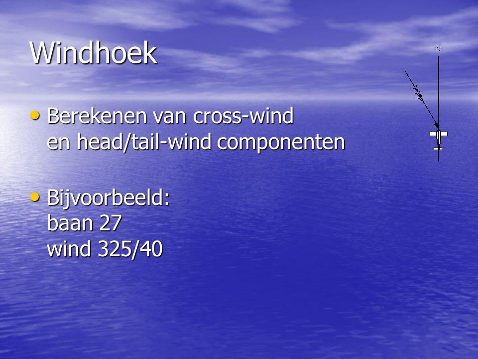 Windhoek Berekenen van cross-wind en head/tail-wind componenten Berekenen van cross-wind en head/tail-wind componenten Bijvoorbeeld: baan 27 wind 325/