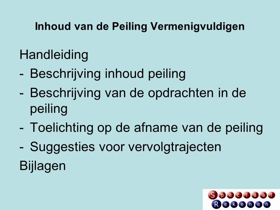 Inhoud van de Peiling Vermenigvuldigen Handleiding -Beschrijving inhoud peiling -Beschrijving van de opdrachten in de peiling -Toelichting op de afnam