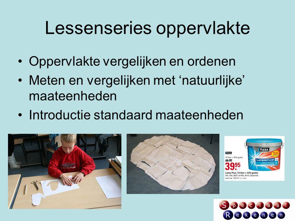 Lessenseries oppervlakte Oppervlakte vergelijken en ordenen Meten en vergelijken met 'natuurlijke' maateenheden Introductie standaard maateenheden
