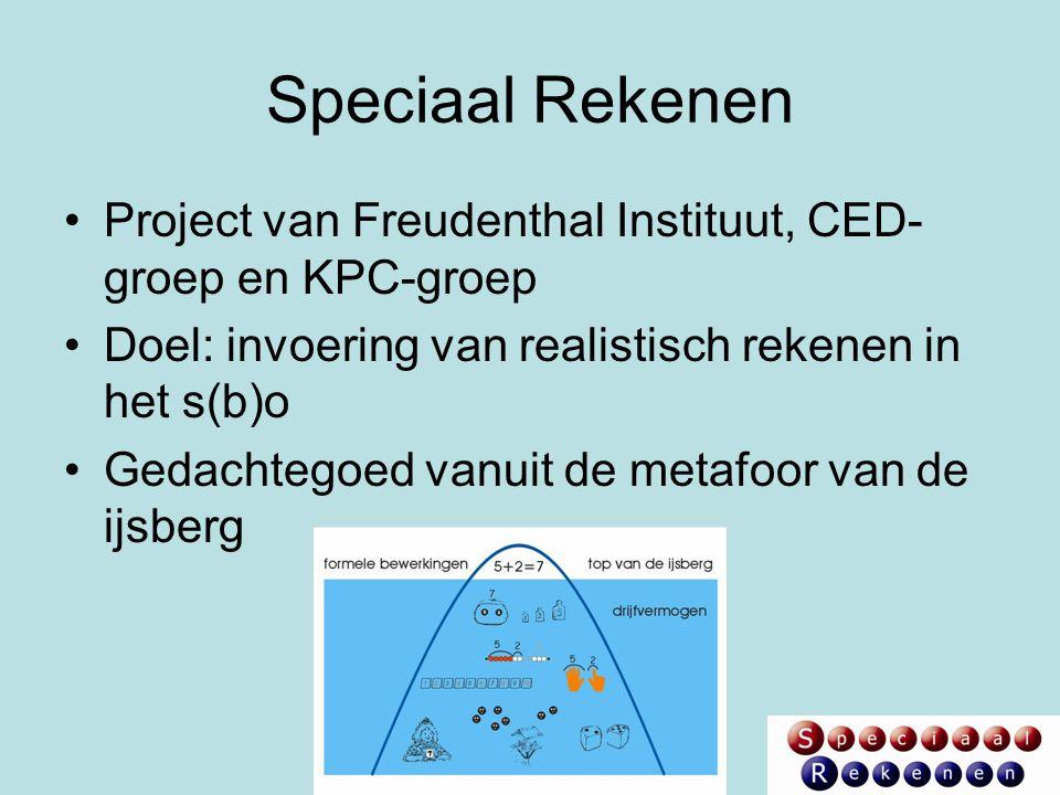 Speciaal Rekenen Project van Freudenthal Instituut, CED- groep en KPC-groep Doel: invoering van realistisch rekenen in het s(b)o Gedachtegoed vanuit d