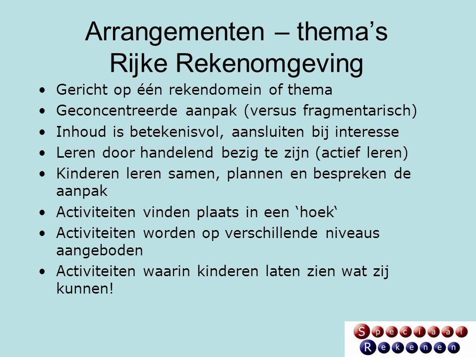 Arrangementen – thema's Rijke Rekenomgeving Gericht op één rekendomein of thema Geconcentreerde aanpak (versus fragmentarisch) Inhoud is betekenisvol,