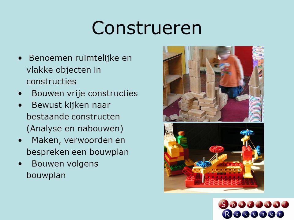 Construeren Benoemen ruimtelijke en vlakke objecten in constructies Bouwen vrije constructies Bewust kijken naar bestaande constructen (Analyse en nab