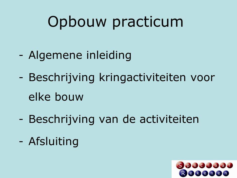 Opbouw practicum -Algemene inleiding -Beschrijving kringactiviteiten voor elke bouw -Beschrijving van de activiteiten -Afsluiting