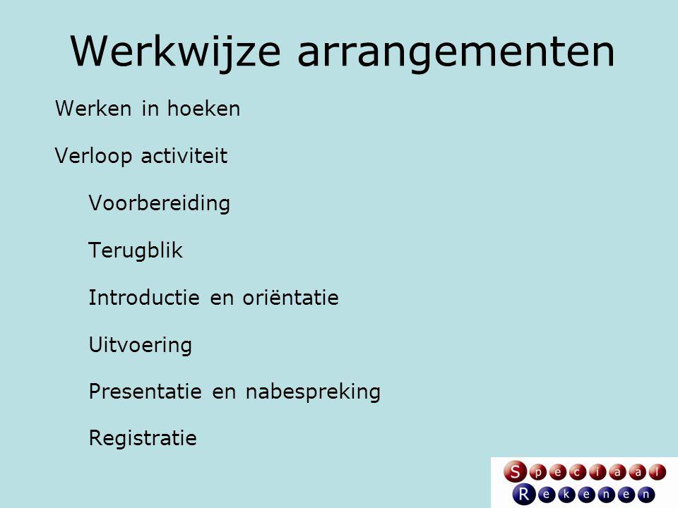 Werkwijze arrangementen Werken in hoeken Verloop activiteit Voorbereiding Terugblik Introductie en oriëntatie Uitvoering Presentatie en nabespreking R