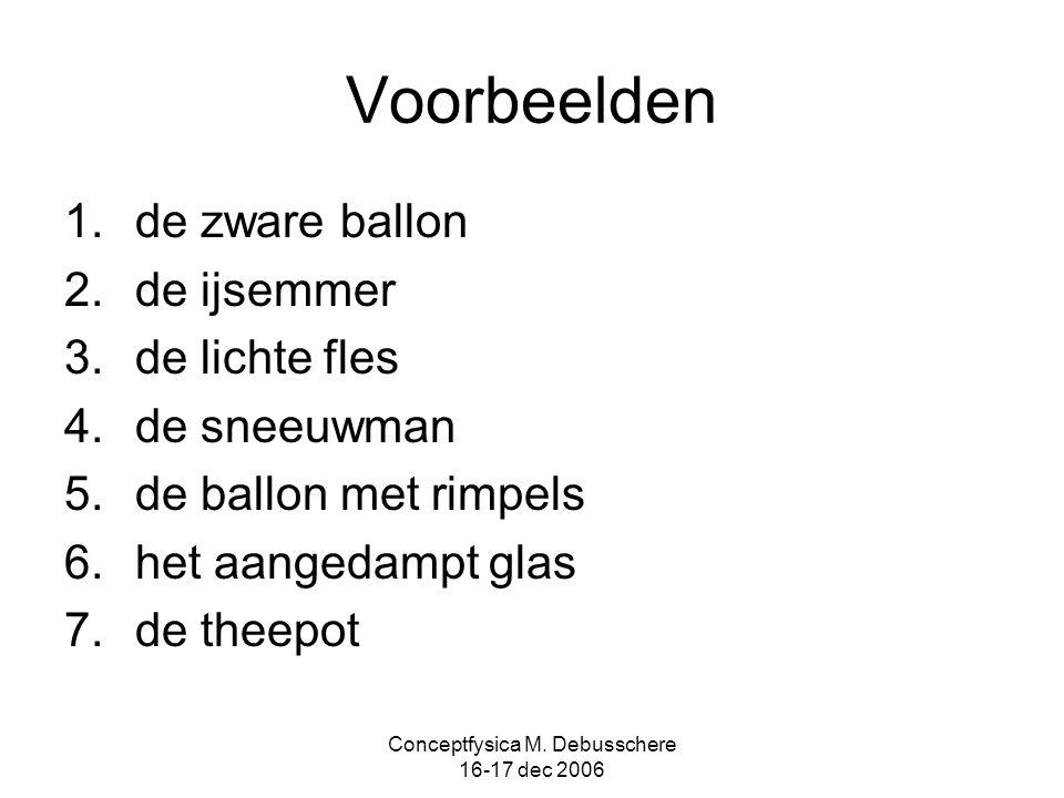 Conceptfysica M. Debusschere 16-17 dec 2006 Voorbeelden 1.de zware ballon 2.de ijsemmer 3.de lichte fles 4.de sneeuwman 5.de ballon met rimpels 6.het