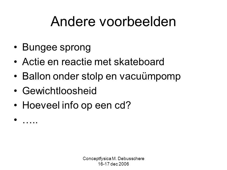 Conceptfysica M. Debusschere 16-17 dec 2006 Andere voorbeelden Bungee sprong Actie en reactie met skateboard Ballon onder stolp en vacuümpomp Gewichtl