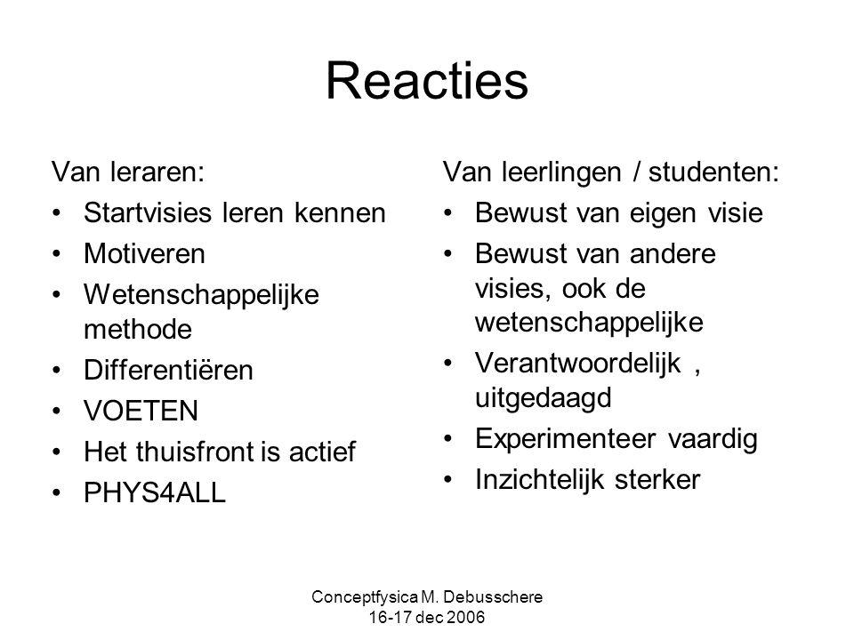 Conceptfysica M. Debusschere 16-17 dec 2006 Reacties Van leraren: Startvisies leren kennen Motiveren Wetenschappelijke methode Differentiëren VOETEN H