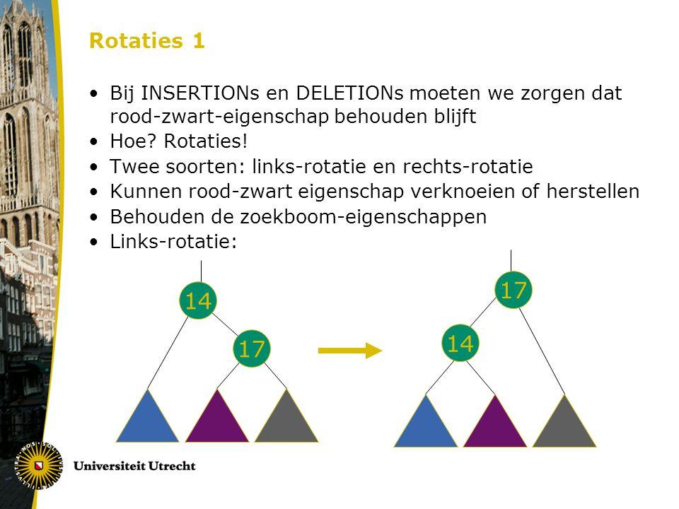 Rotaties 1 Bij INSERTIONs en DELETIONs moeten we zorgen dat rood-zwart-eigenschap behouden blijft Hoe? Rotaties! Twee soorten: links-rotatie en rechts