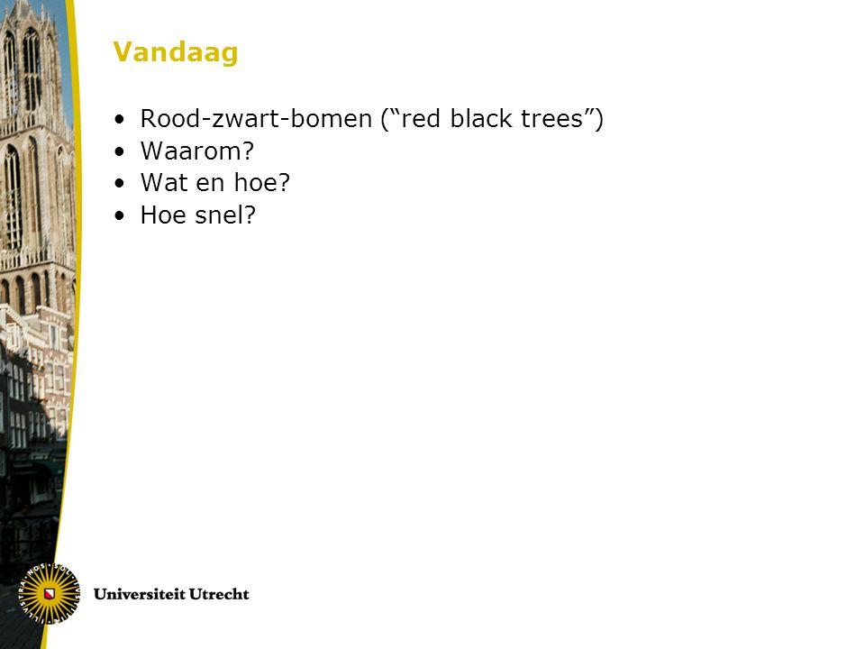 Zoekbomen recap Zoekboom: implementatie van ADT met operaties: ZOEK-ELEMENT VOORGANGER OPVOLGER MINIMUM MAXIMUM INSERT DELETE n is steeds het aantal niet-NIL keys in de zoekboom Bij een zoekboom kan elk van deze in O(h) tijd, met h de hoogte van de boom Als we niks doen, kan de hoogte groot worden Slechtste geval: linked list, n hoog als n keys in boom Kunnen we de zoekboom zo implementeren dat de hoogte beperkt blijft??