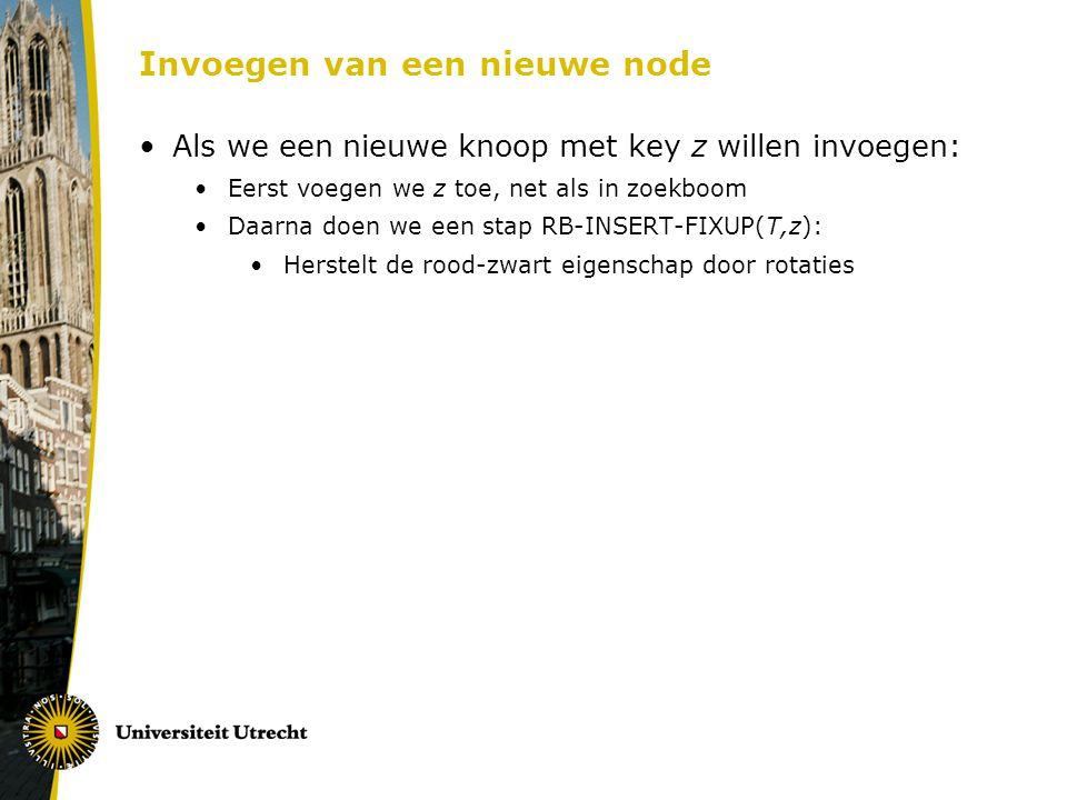 Invoegen van een nieuwe node Als we een nieuwe knoop met key z willen invoegen: Eerst voegen we z toe, net als in zoekboom Daarna doen we een stap RB-