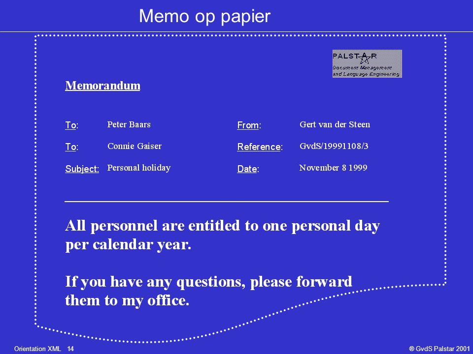 Orientation XML 14® GvdS Palstar 2001 Memo op papier