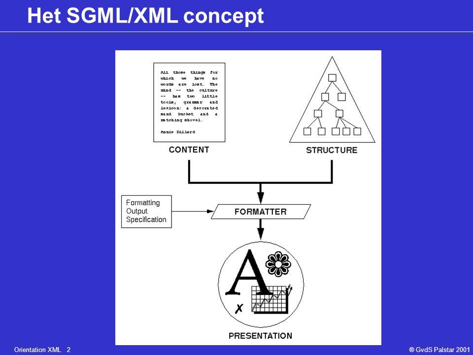 Orientation XML 2® GvdS Palstar 2001 Het SGML/XML concept