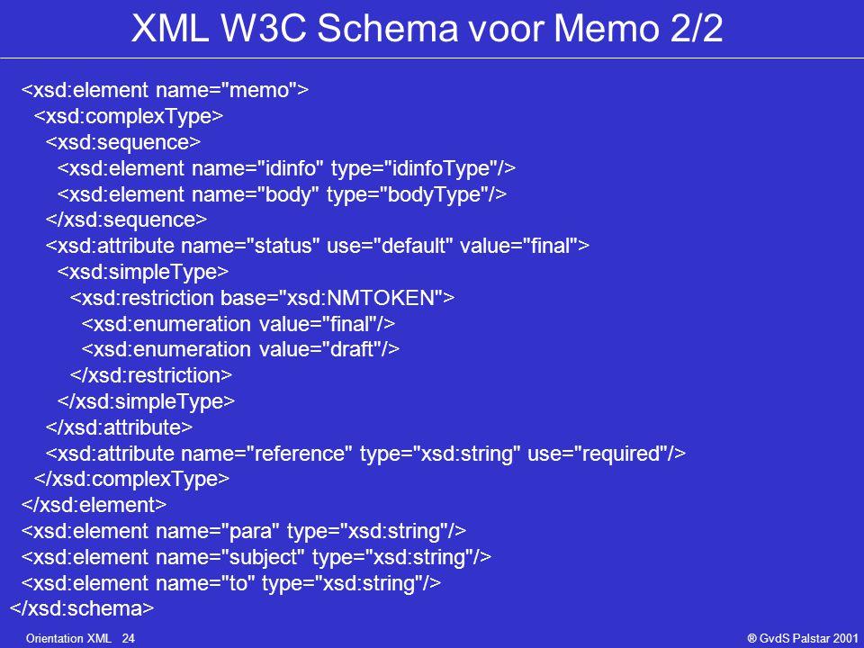 Orientation XML 24® GvdS Palstar 2001 XML W3C Schema voor Memo 2/2