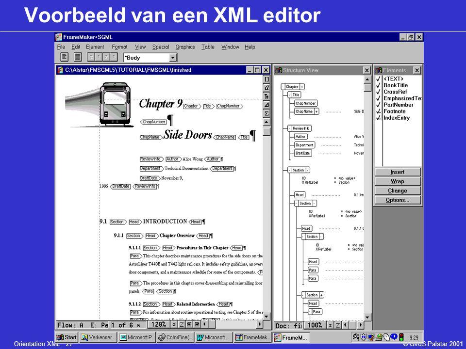 Orientation XML 27® GvdS Palstar 2001 Voorbeeld van een XML editor