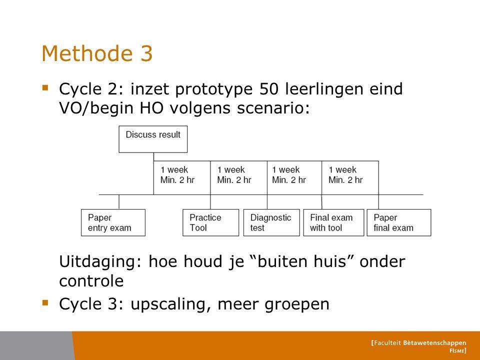 """Methode 3  Cycle 2: inzet prototype 50 leerlingen eind VO/begin HO volgens scenario: Uitdaging: hoe houd je """"buiten huis"""" onder controle  Cycle 3: u"""