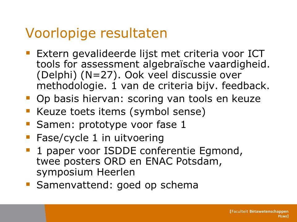 Voorlopige resultaten  Extern gevalideerde lijst met criteria voor ICT tools for assessment algebraïsche vaardigheid. (Delphi) (N=27). Ook veel discu