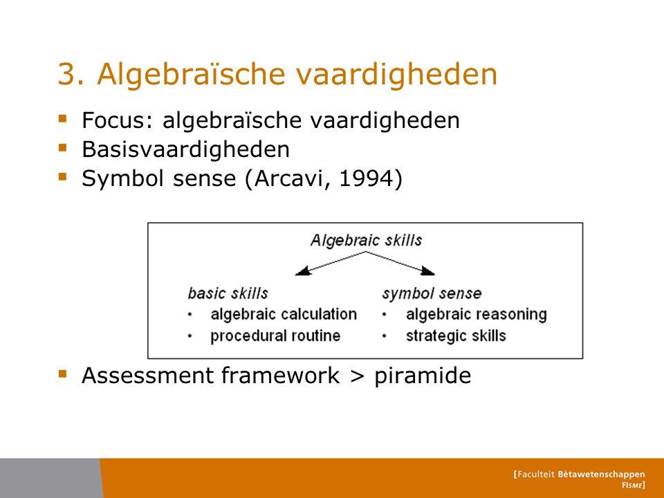3. Algebraïsche vaardigheden  Focus: algebraïsche vaardigheden  Basisvaardigheden  Symbol sense (Arcavi, 1994)  Assessment framework > piramide