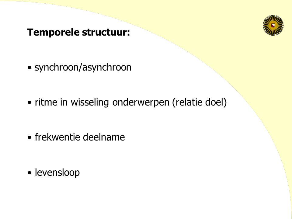 Temporele structuur: synchroon/asynchroon ritme in wisseling onderwerpen (relatie doel) frekwentie deelname levensloop