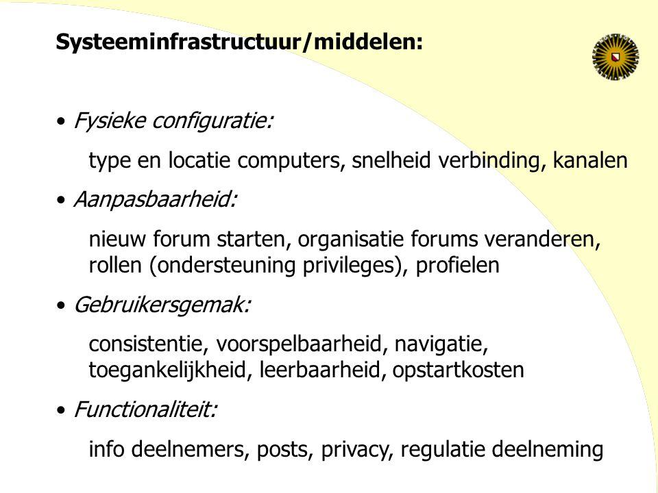 Systeeminfrastructuur/middelen: Fysieke configuratie: type en locatie computers, snelheid verbinding, kanalen Aanpasbaarheid: nieuw forum starten, org