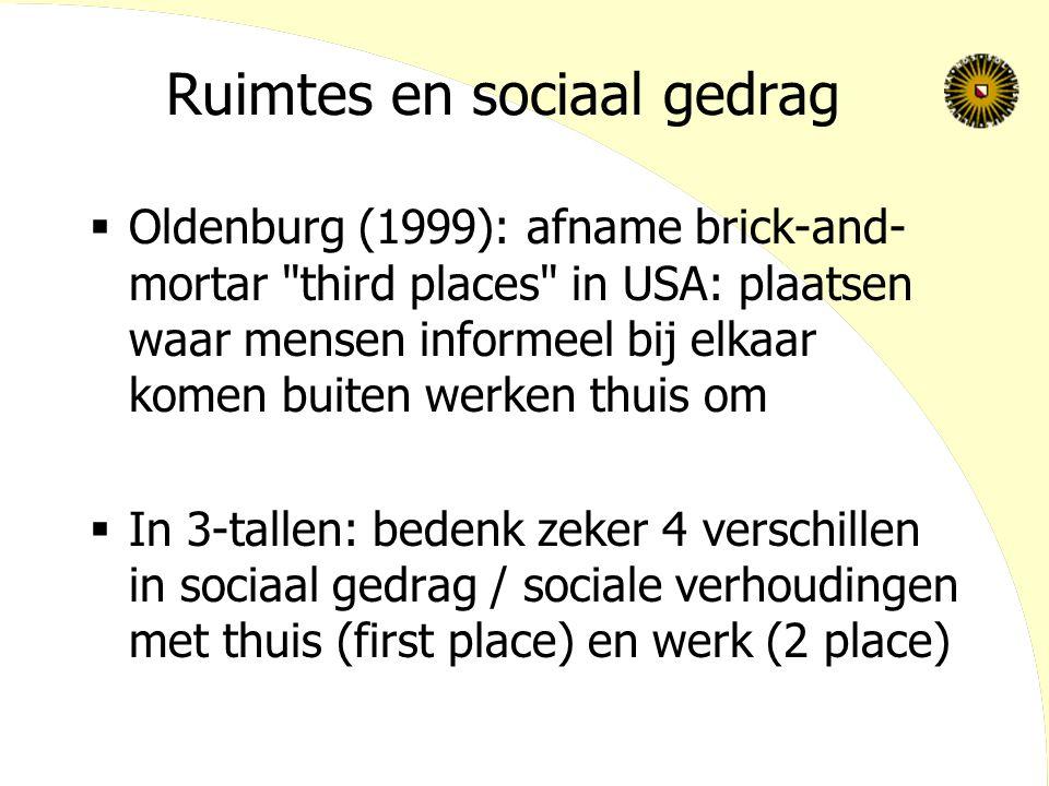Ruimtes en sociaal gedrag  Oldenburg (1999): afname brick-and- mortar