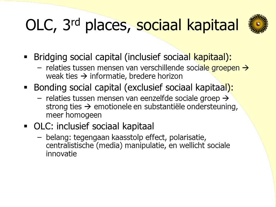 OLC, 3 rd places, sociaal kapitaal  Bridging social capital (inclusief sociaal kapitaal): –relaties tussen mensen van verschillende sociale groepen 