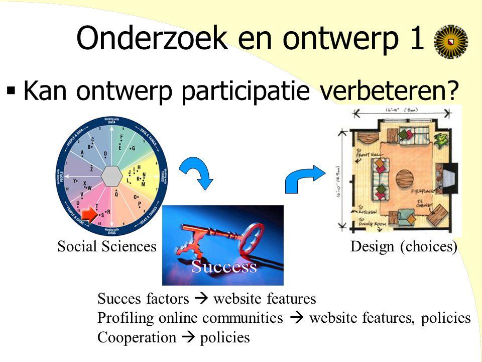 Onderzoek en ontwerp 1  Kan ontwerp participatie verbeteren? Social SciencesDesign (choices) Succes factors  website features Profiling online commu