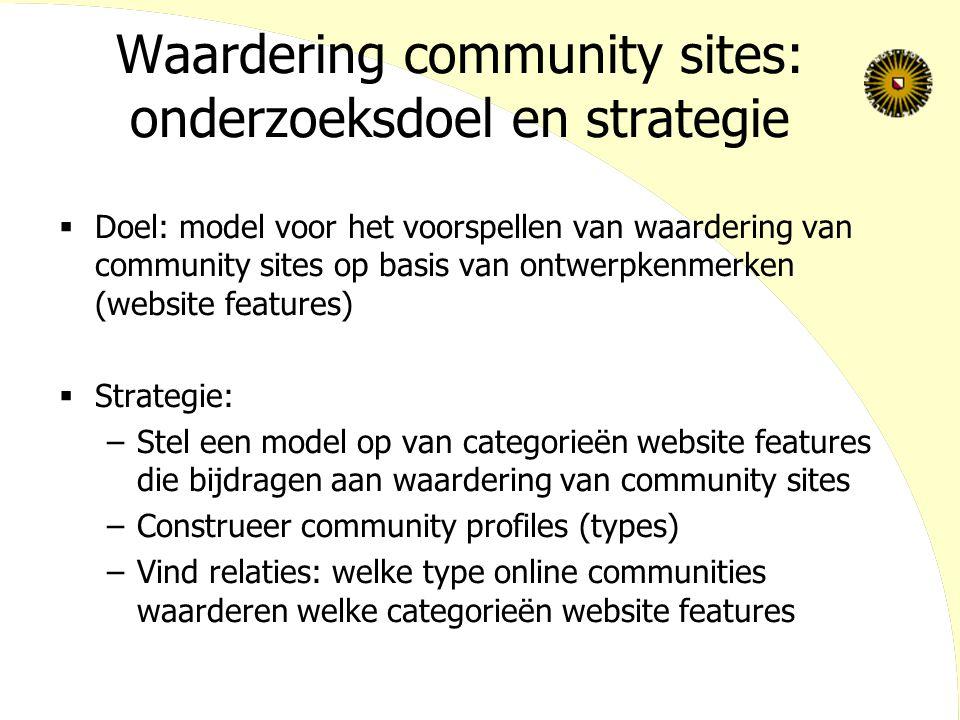 Waardering community sites: onderzoeksdoel en strategie  Doel: model voor het voorspellen van waardering van community sites op basis van ontwerpkenm