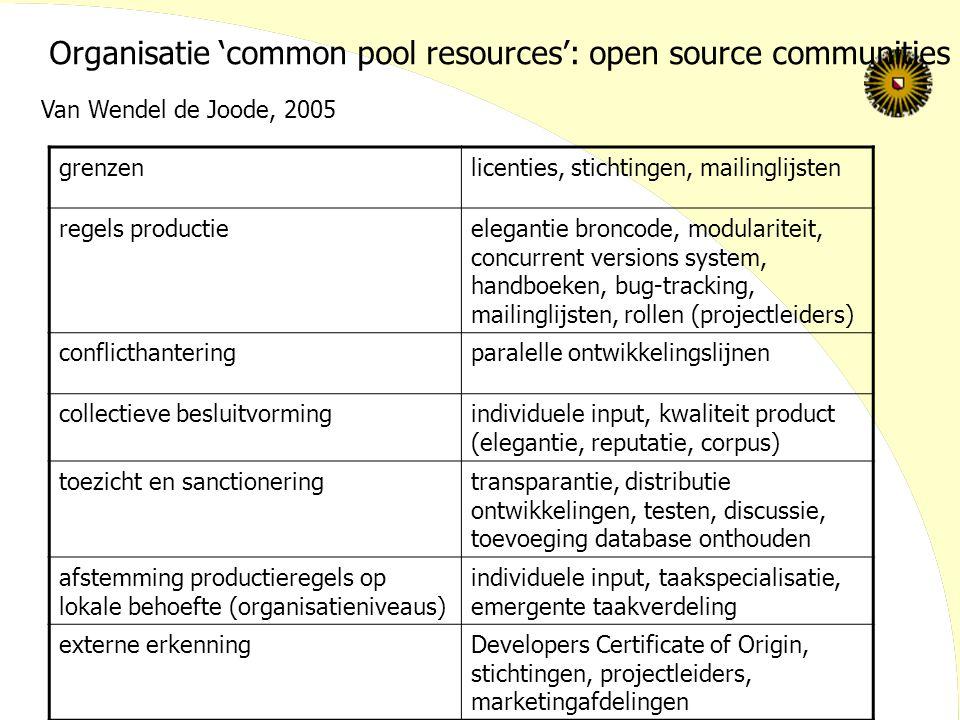 grenzenlicenties, stichtingen, mailinglijsten regels productieelegantie broncode, modulariteit, concurrent versions system, handboeken, bug-tracking,