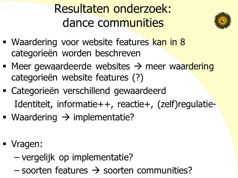 Resultaten onderzoek: dance communities  Waardering voor website features kan in 8 categorieën worden beschreven  Meer gewaardeerde websites  meer