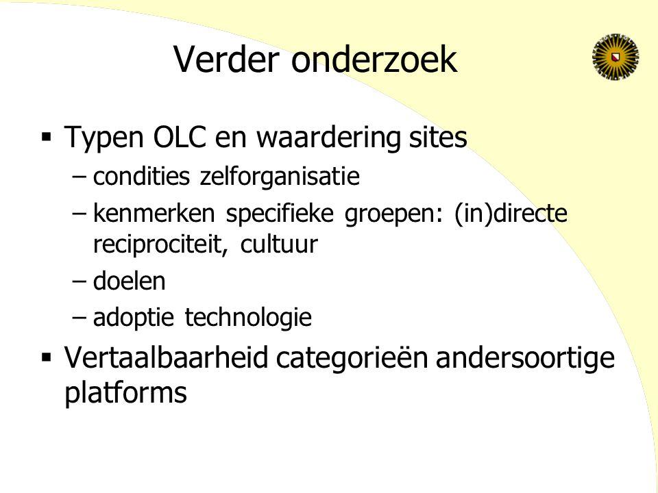 Verder onderzoek  Typen OLC en waardering sites –condities zelforganisatie –kenmerken specifieke groepen: (in)directe reciprociteit, cultuur –doelen
