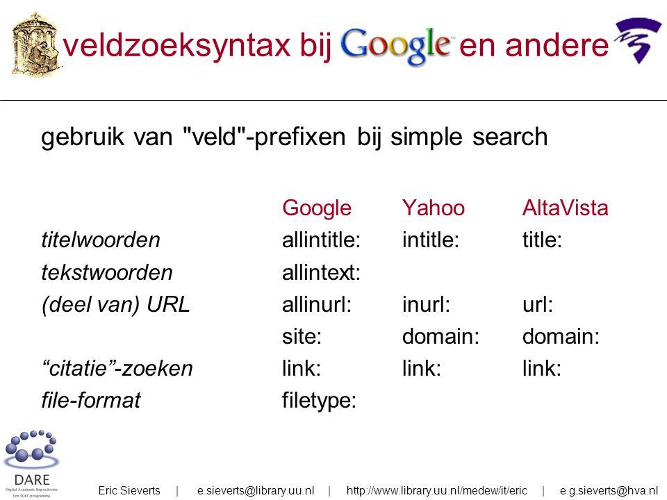 veldzoeksyntax bij Google en andere gebruik van veld -prefixen bij simple search GoogleYahooAltaVista titelwoordenallintitle:intitle:title: tekstwoordenallintext: (deel van) URLallinurl:inurl:url: site:domain:domain: citatie -zoekenlink:link:link: file-formatfiletype: Eric Sieverts | e.sieverts@library.uu.nl | http://www.library.uu.nl/medew/it/eric | e.g.sieverts@hva.nl