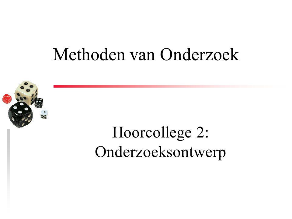 Methoden van Onderzoek Hoorcollege 2: Onderzoeksontwerp