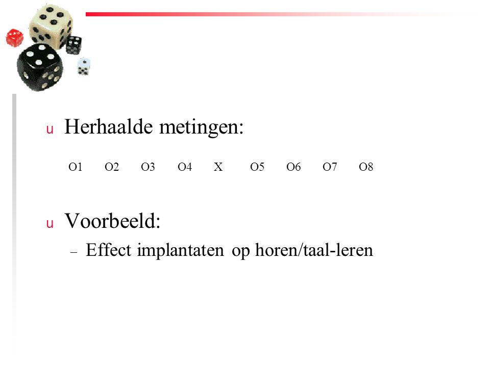 u Herhaalde metingen: u Voorbeeld: – Effect implantaten op horen/taal-leren O1O2O3O4XO5O6O7O8