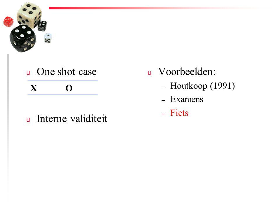 u One shot case u Interne validiteit u Voorbeelden: – Houtkoop (1991) – Examens – Fiets XO