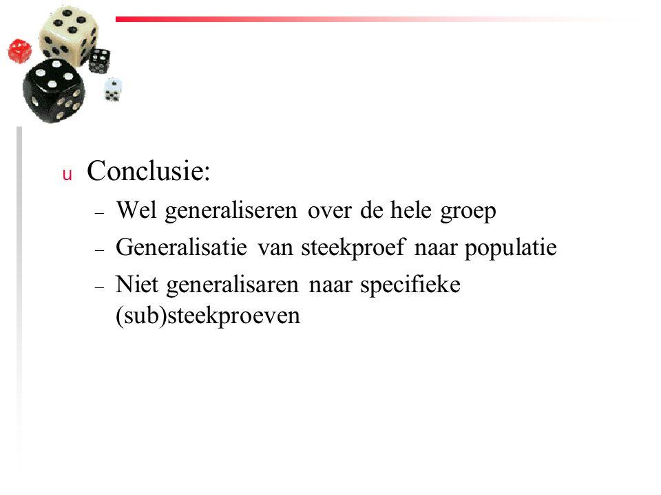 u Conclusie: – Wel generaliseren over de hele groep – Generalisatie van steekproef naar populatie – Niet generalisaren naar specifieke (sub)steekproev