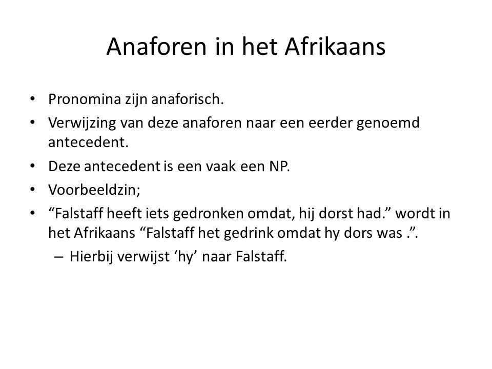 Anaforen in het Afrikaans Pronomina zijn anaforisch. Verwijzing van deze anaforen naar een eerder genoemd antecedent. Deze antecedent is een vaak een
