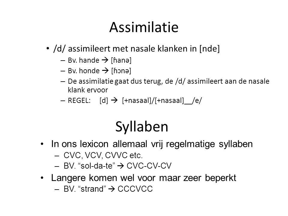 Assimilatie /d/ assimileert met nasale klanken in [nde] – Bv. hande  [ɦanə] – Bv. honde  [ɦɔnə] – De assimilatie gaat dus terug, de /d/ assimileert