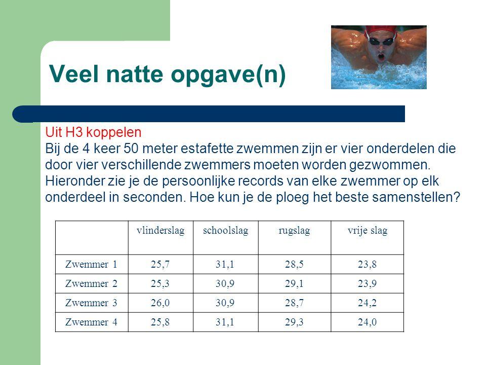 Veel natte opgave(n) Uit H3 koppelen Bij de 4 keer 50 meter estafette zwemmen zijn er vier onderdelen die door vier verschillende zwemmers moeten word