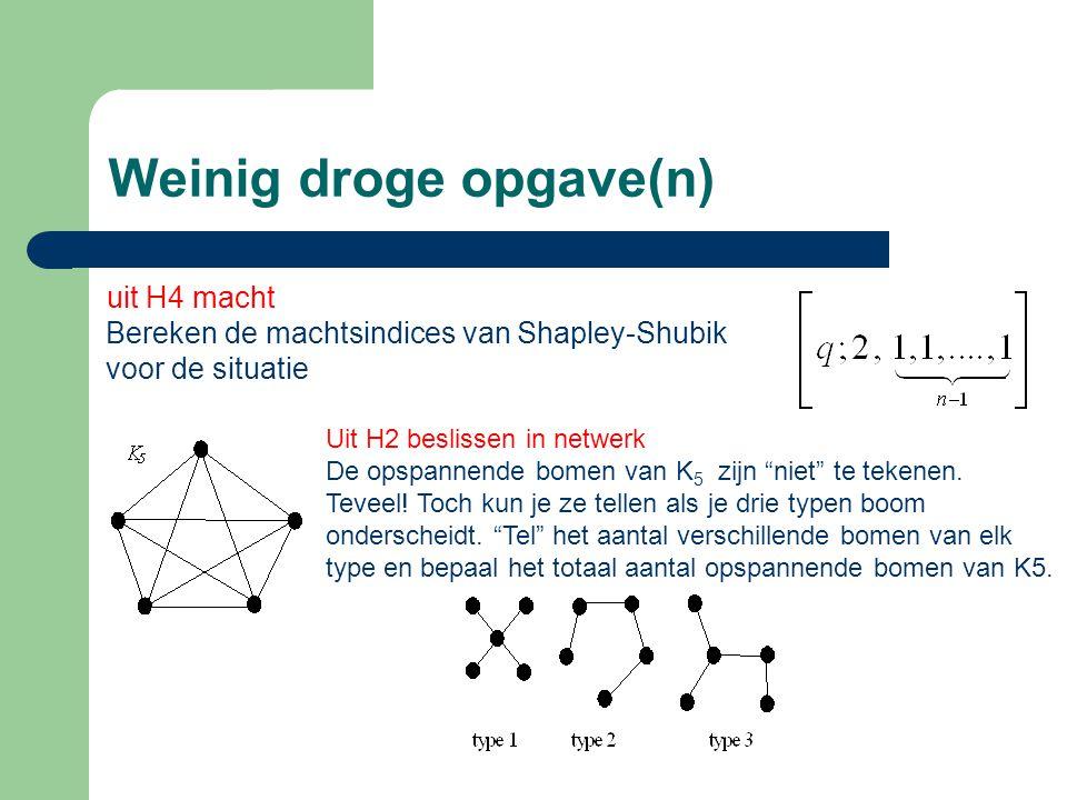 Weinig droge opgave(n) uit H4 macht Bereken de machtsindices van Shapley-Shubik voor de situatie Uit H2 beslissen in netwerk De opspannende bomen van