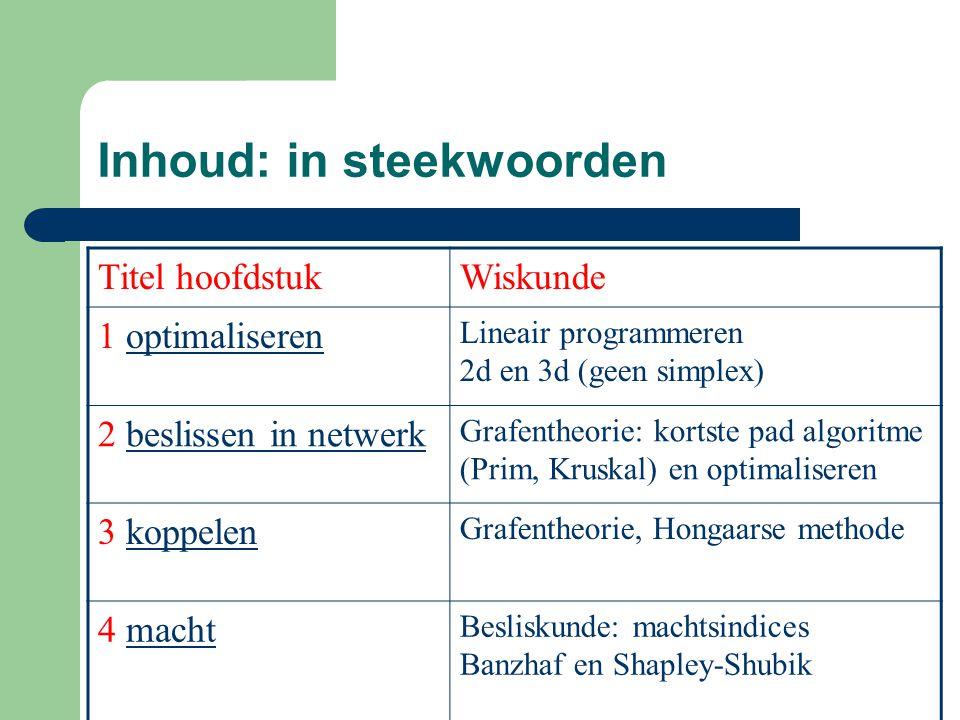 Inhoud: in steekwoorden Titel hoofdstukWiskunde 1 optimaliserenoptimaliseren Lineair programmeren 2d en 3d (geen simplex) 2 beslissen in netwerkbeslis