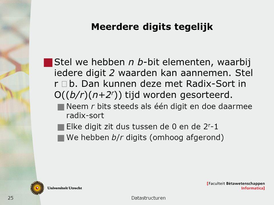 25 Meerdere digits tegelijk  Stel we hebben n b-bit elementen, waarbij iedere digit 2 waarden kan aannemen. Stel r b. Dan kunnen deze met Radix-Sor