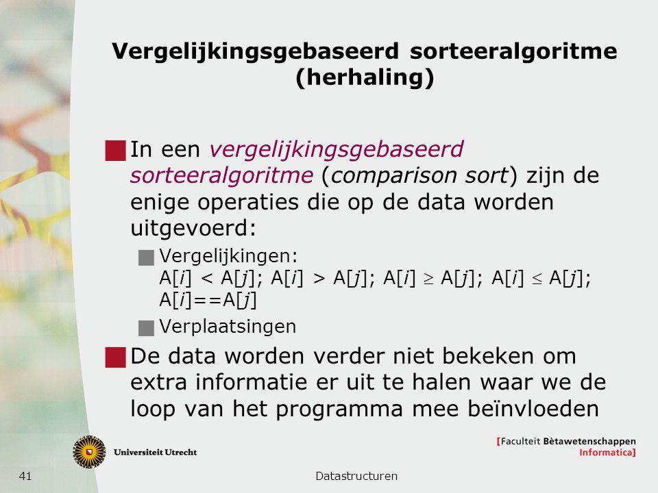 41 Vergelijkingsgebaseerd sorteeralgoritme (herhaling)  In een vergelijkingsgebaseerd sorteeralgoritme (comparison sort) zijn de enige operaties die op de data worden uitgevoerd:  Vergelijkingen: A[i] A[j]; A[i]  A[j]; A[i]  A[j]; A[i]==A[j]  Verplaatsingen  De data worden verder niet bekeken om extra informatie er uit te halen waar we de loop van het programma mee beïnvloeden Datastructuren
