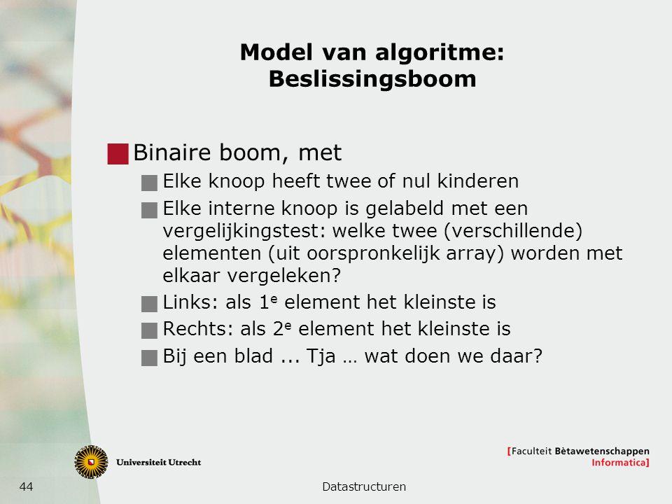 44 Model van algoritme: Beslissingsboom  Binaire boom, met  Elke knoop heeft twee of nul kinderen  Elke interne knoop is gelabeld met een vergelijkingstest: welke twee (verschillende) elementen (uit oorspronkelijk array) worden met elkaar vergeleken.