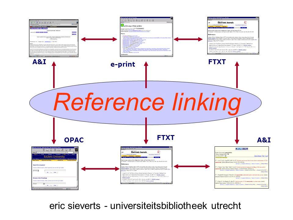 Reference linking e-print FTXT OPACA&I eric sieverts - universiteitsbibliotheek utrecht