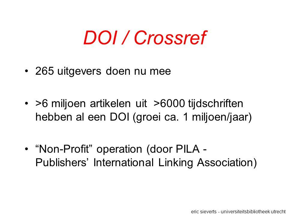 DOI / Crossref 265 uitgevers doen nu mee >6 miljoen artikelen uit >6000 tijdschriften hebben al een DOI (groei ca.