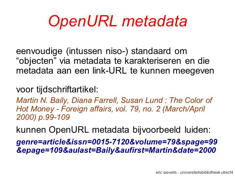 OpenURL metadata eenvoudige (intussen niso-) standaard om objecten via metadata te karakteriseren en die metadata aan een link-URL te kunnen meegeven voor tijdschriftartikel: Martin N.