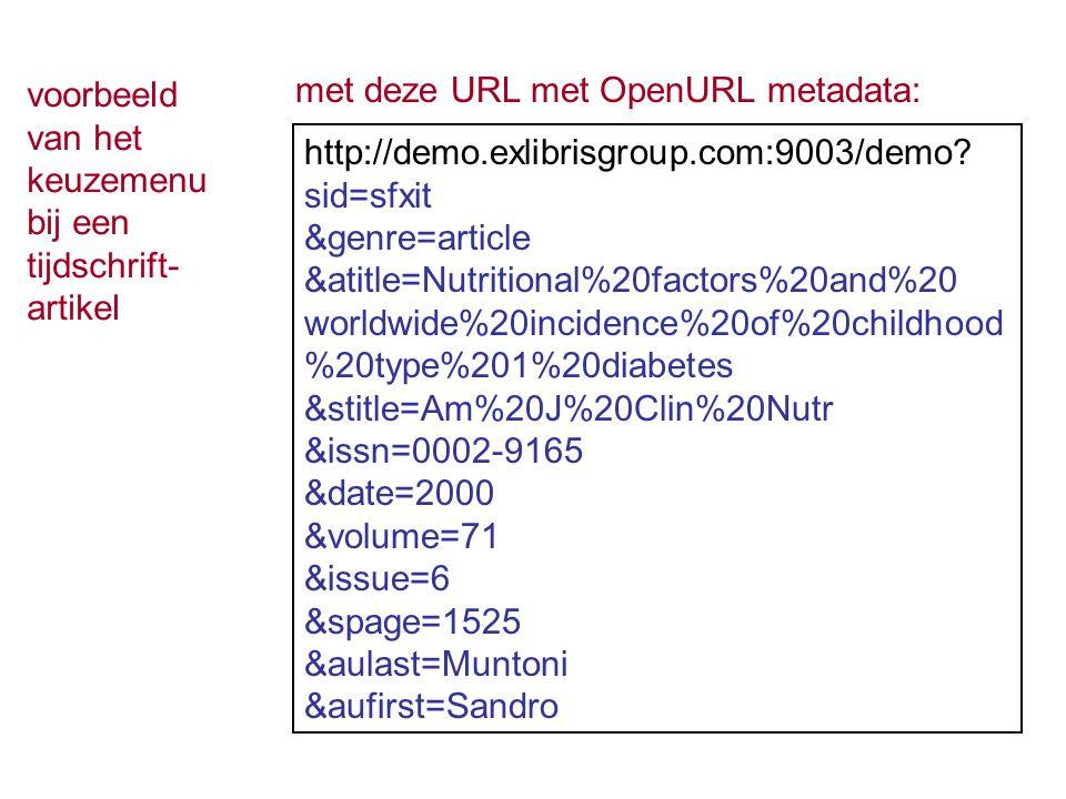 voorbeeld van het keuzemenu bij een tijdschrift- artikel met deze URL met OpenURL metadata: http://demo.exlibrisgroup.com:9003/demo? sid=sfxit &genre=